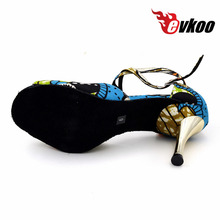 Evkoodance girls 8.5cm heel Zapatos De Baile Size US4-12 Blue African Print Satin Latin Ballroom Dance shoes For Women Evkoo-453
