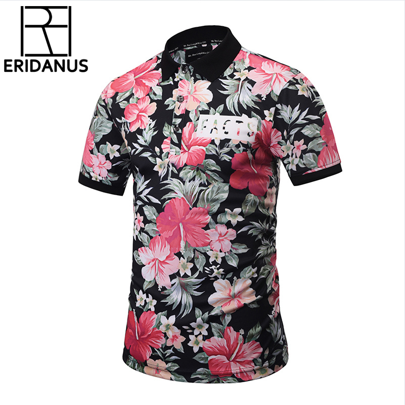 2018 New Brand   POLO   Shirts Men Summer Tops 3D Print Leaves And Flowers Fashion Shirts Short Sleeve Breathable Plus Size X735