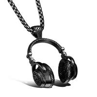 Hip Hop Jewelry Men Necklace Stainless Steel Music Headphone Pendant Necklaces 2016 Fashion Cool Gifts Mens