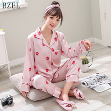 BZEL Silk Satin Pajamas Sets Long Sleeve Sleepwear Cute Cartoon Strawberry Sleep