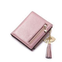 Cow Genuine Leather Women Short Wallet Tassel Zipper Coin Small Clutch Pendant Purse Bag Short For Girls Female Credit Card TH55