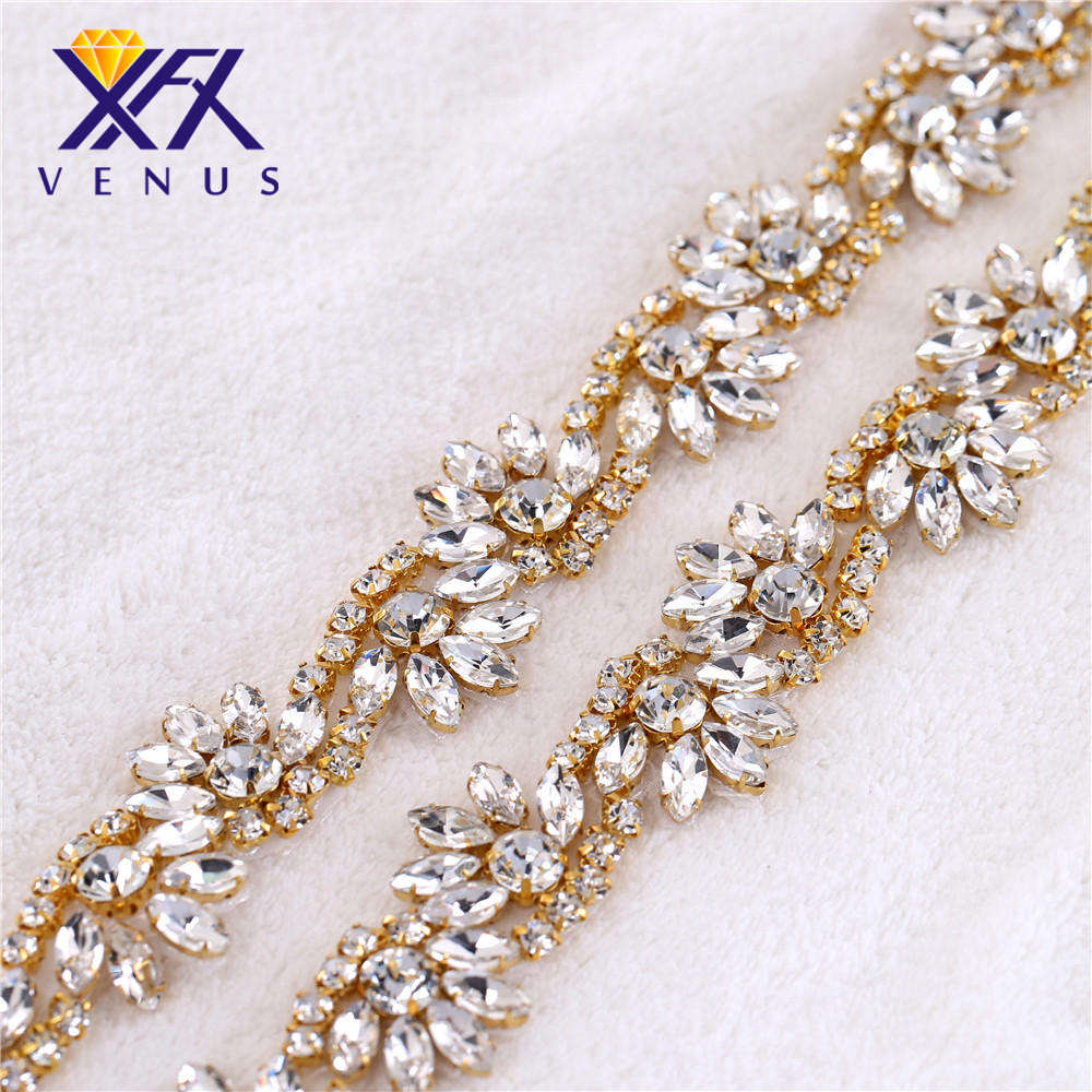 XINFANGXIU (10 Yards) Wholesale bridal Waist Band Sewing rose gold crystal  rhinestone applique trim for wedding dress sash belt 9fc85780737e