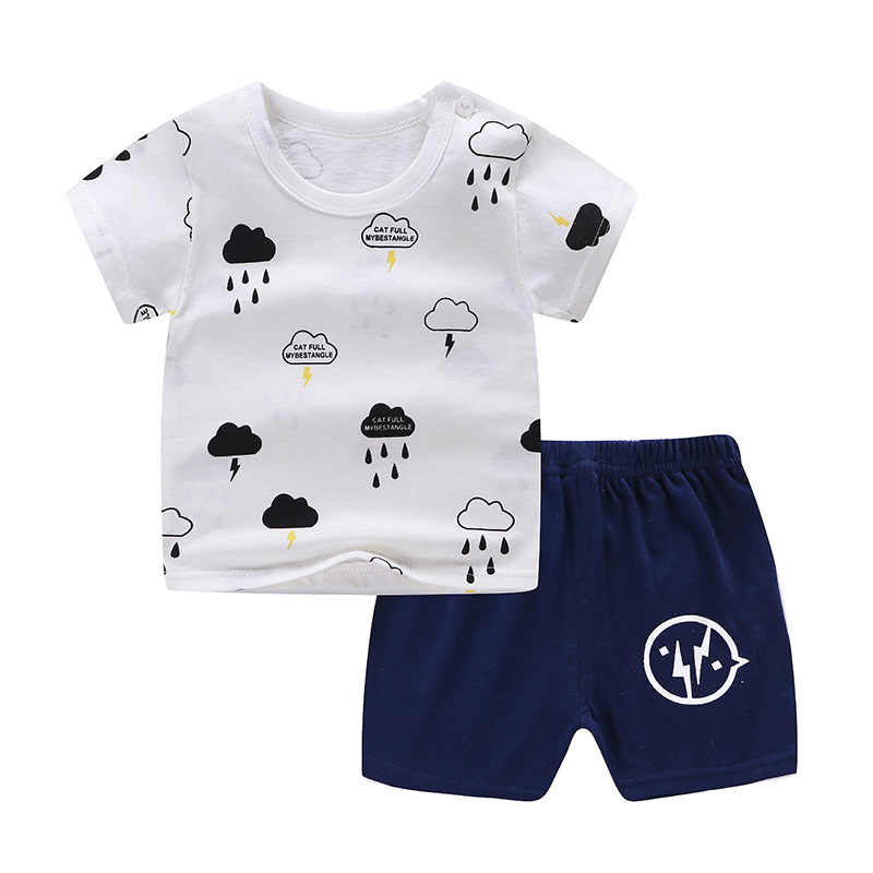 Summer Baby Boy Clothing Sets White Clouds Printing Cotton Baby Girl Short-sleeved Shorts Suit