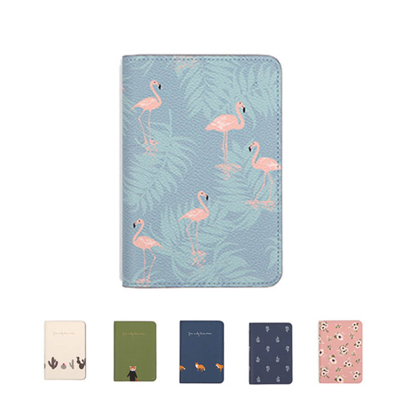 Printing Women Passport Cover Leather Flamingo Card Case Protector Cover Wallet Bags Flower Travel Passport Cover For Girl W249