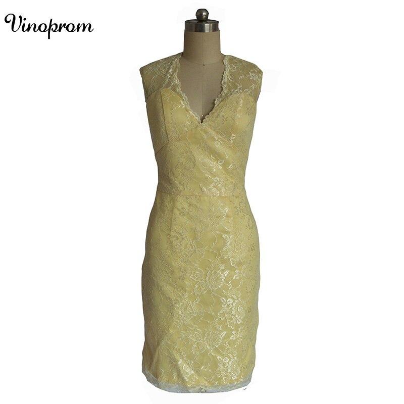 Style de pays 2017 date jaune dentelle courte robes de demoiselle d'honneur pour les mariages pas cher bijou dos nu genou longueur décontracté