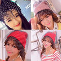 2015 Korean winter Europe personality woman knitting rabbit hair ball black gauze veil sexy retro knitting wool cap female hat
