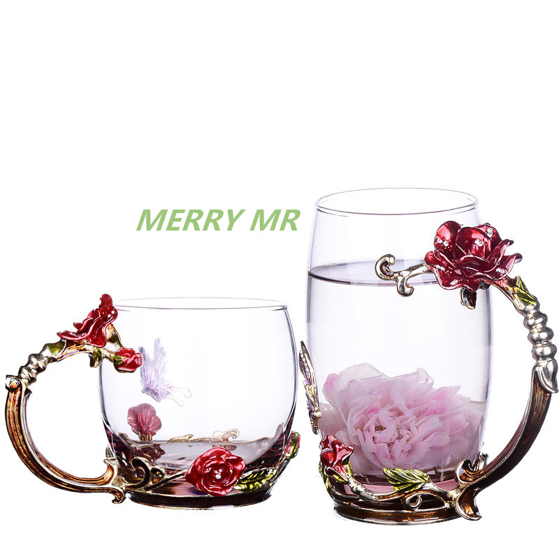 Enamel Color Crystal Glass Mug Rose Flower Butterfly Handgrip and Rhinestones Decorated Design Drinking Glass Cups Lovers Gift in Mugs from Home Garden