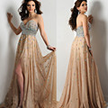 2017 personalizar várias cores cristal frisado chiffon prom vestidos sexy party dress