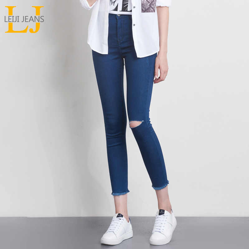 LEIJIJEANS Spring And Summer Plus Size Mid Waist Ripped Tassel 4 Solid Color Stretch Well Women Casual Skinny Pencil Jeans