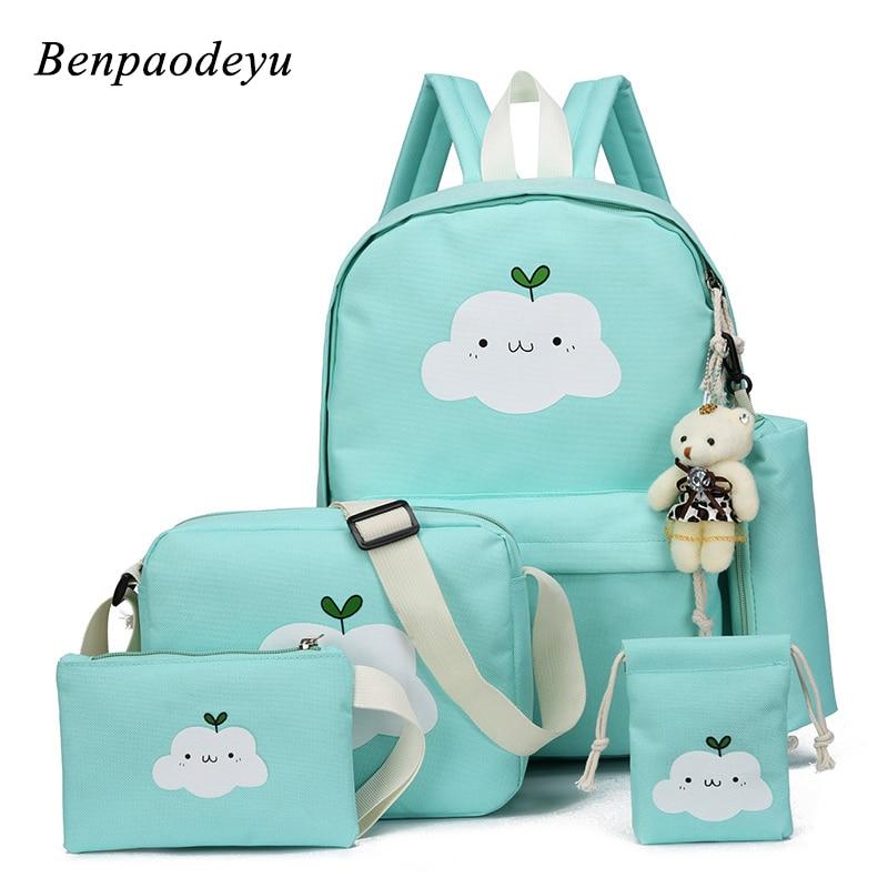 5 Pcs Set Fashion Backpack Girls Canvas Backpacks Casual Children School Bags Ladies Knapsack For Teenagers Girls School Bags