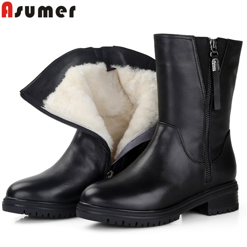 ASUMER big size 35-43 fashion ankle boots for women round toe zip genuine leather boots square heel winter keep warm snow boots women winter flats genuine leather round toe match colored buckle rhinestone fur fashion ankle snow boots size 35 39 sxq0826