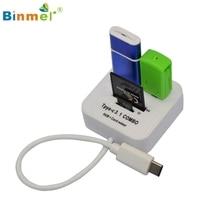 Binmer USB 3.1 Type C USB-C Несколько 2 Портовый КОНЦЕНТРАТОР TF Чтения SD Card Адаптер Jan16 MotherLander