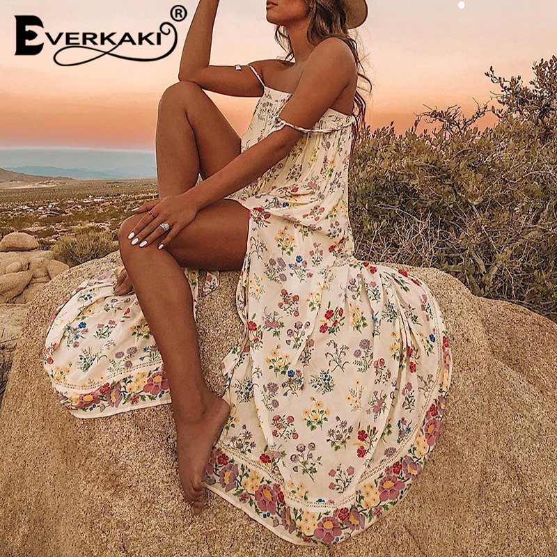 Everkaki Spaghetti Strap Boho Dress Women Print  Backless Robe Femme Long Bohemian Dresses Female 2019 Summer Autumn Plus Size