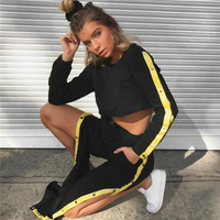 Heyouthoney 2017 Women Casual Autumn Black Yellow Cropped Tops Pullover Sweatshirts Split Pants Two Pieces Sets