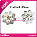 20pcs / pack 35mm silver -plated pearl alloy button rhinestone button flat back embellishment DIY hair accessory