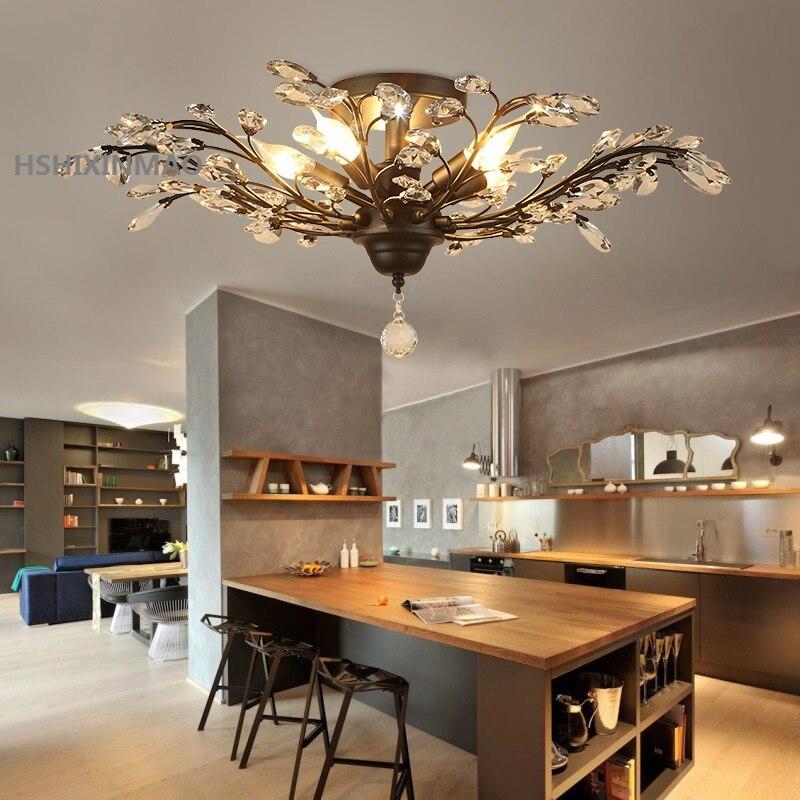 Vintage style Européen et Américain lustre d'or noir salon chambre lampe en cristal restaurant d'affaires plafond lampe