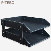 PITEBO double layer leather office file document tray shelf storage box desk organizer black