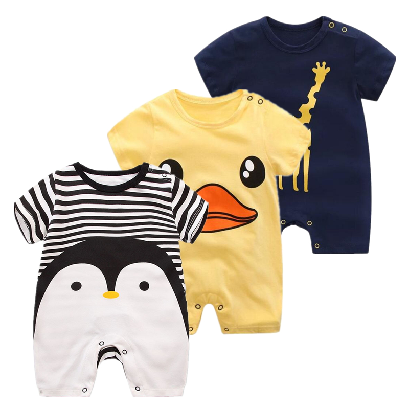 Summer Sale baby girl clothes Penguin rompers newborn boy short sleeve rompers 100% cotton Cartoon baby Jumpsuits girl clothing 3pcs set newborn infant baby boy girl clothes 2017 summer short sleeve leopard floral romper bodysuit headband shoes outfits