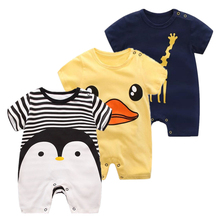 2017 Baby rompers summer style Penguin  baby boy clothes newborn girl short sleeve cotton 100% childrens Clothes