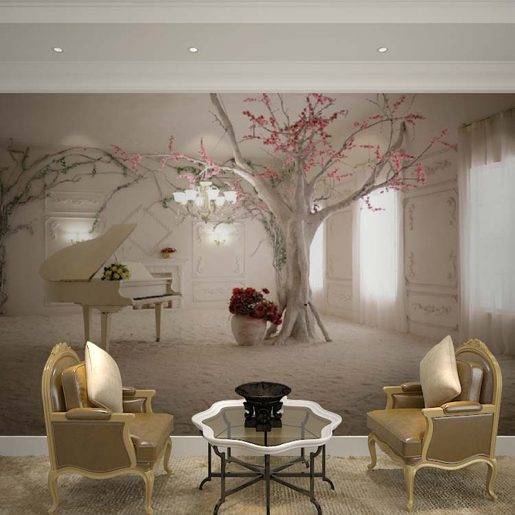 Custom Large Papel Mural Piano Trees Wallpaper 3d Wall Photo Mural for Living Room Sofa Background