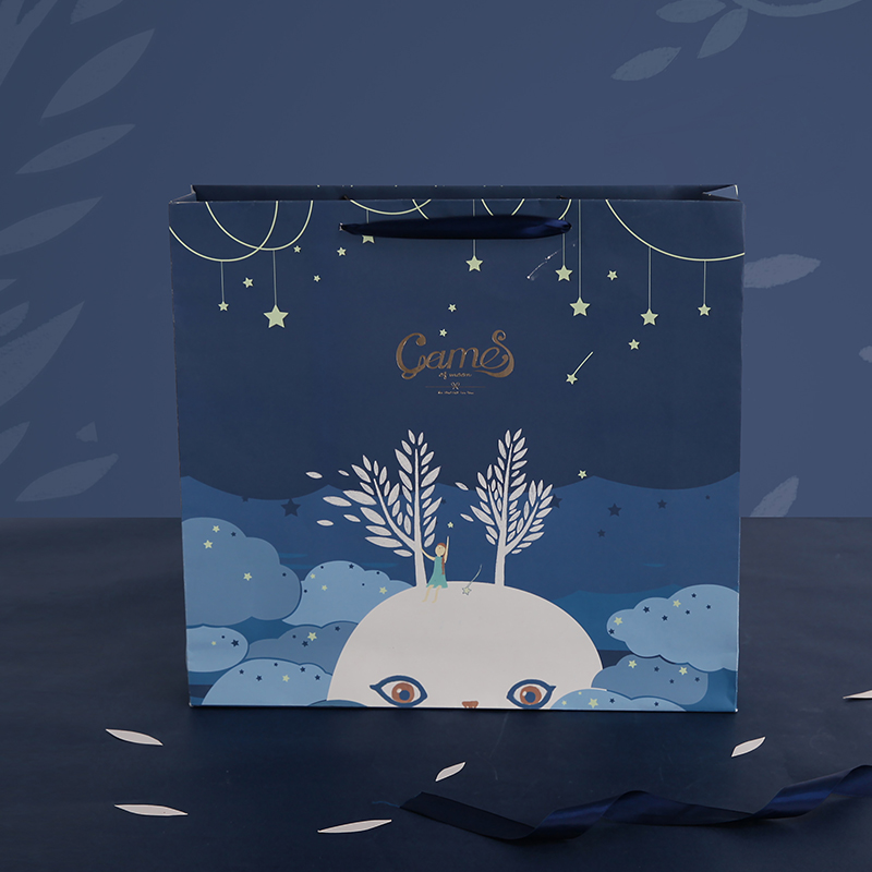 1pc Luna starlight gift bags Paper shopping bag Simple packing bag Fashion handbag packing supplies