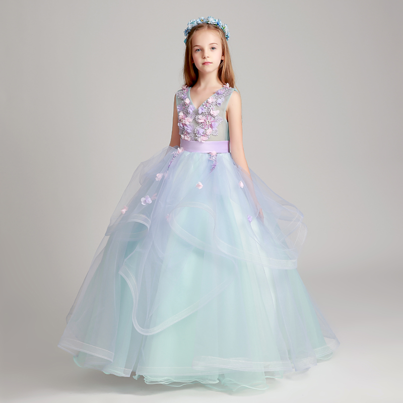 New Luxury V-Collar Children Girls Summer Birthday Holiday party Long Dress Kids Model Show Piano Playing Costume Flowers Dress dress the children show children and children show long tailed peacock dress