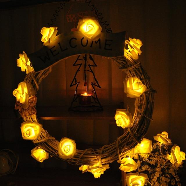 10m 38 Chrsitmas Lights Warm White Rose Led String Fairy Garlands Navidad Guirlande Lumineuse Flashing