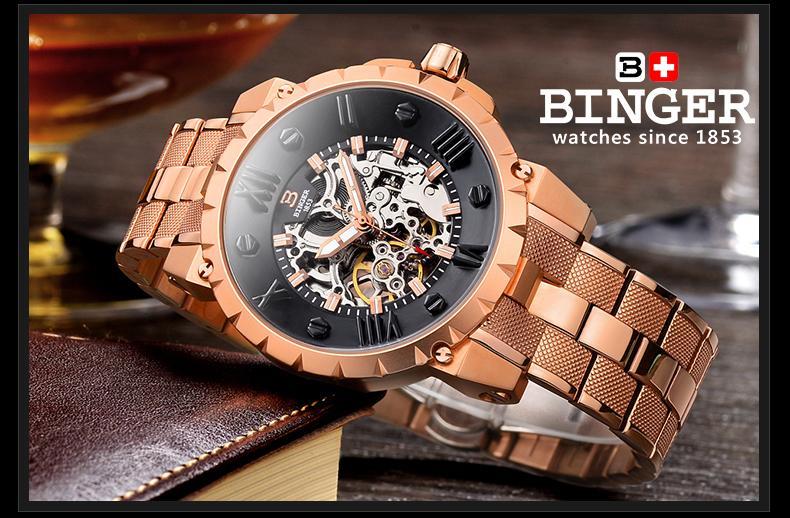Šveicarija BINGE laikrodžiai vyrams prabangos prekės mechaninis - Vyriški laikrodžiai - Nuotrauka 3