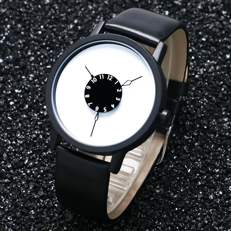 Creative Leather Watch Men Women Dress Watches Minimalis Hour Clock Men Fashion Casual Unisex Quartz Wristwatches relogio reloj
