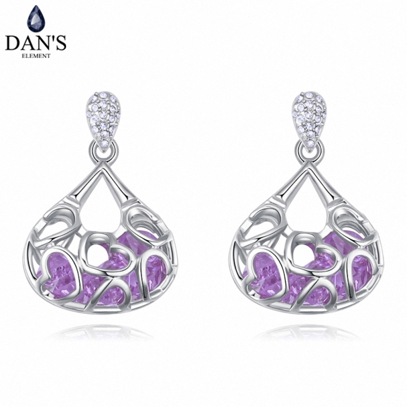 DANS 4 Colors Real Austrian crystals Stud earrings for women Earrings s New Sale Hot Round 128005