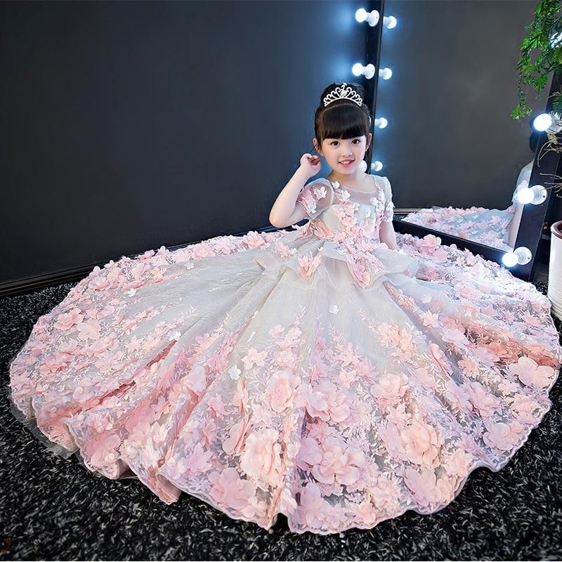 Свадебное платье для девочек детское платье принцессы вечерние платья феи с цветами для выступлений на пианино От 1 до 2 лет, 5, 8, 9, 12, 13, 14 лет