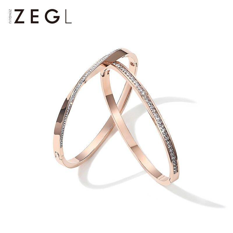 ZEGL niche or rose bracelet en acier titane femme simple vent froid mode bracelet bijoux