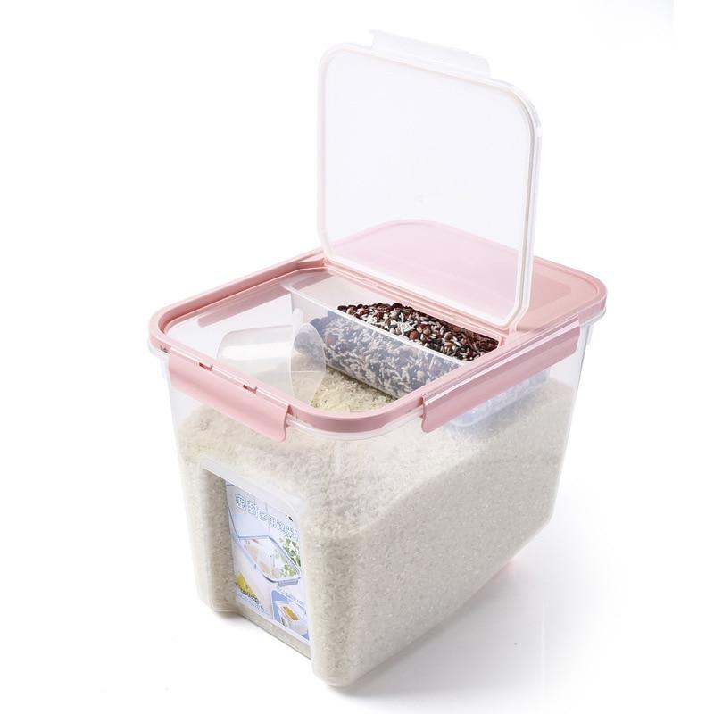 HIPSTEEN 10 kg Kunststoff Küche Versiegelt Box Große Kapazität Lebensmittel Aufbewahrungsboxen Bohnen Reiskorn Vorratsbehälter mit Messbecher