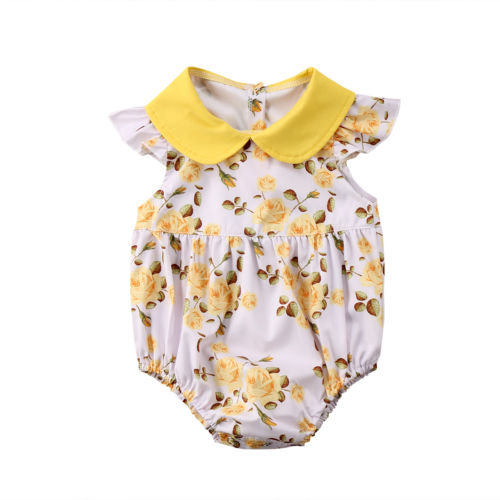 Rompers Floral Newborn Infant Baby Girl Sleeveless Printed Romper Jumpsuit Outfit Summer Sunsuit Clothes