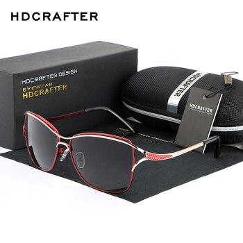 2017 HDCRAFTER Cat Eye Femmes lunettes de Soleil Marque Designer Métal  Cadre Polarisées Mode lunettes femmes lunettes de soleil de Bonne Qualité a8bdcbcd360e