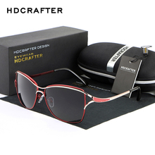 2017 HDCRAFTER Cat Eye Women Sunglasses Brand Designer Metal Frame Polarized Fashion glasses women's gafas de sol Good Quality