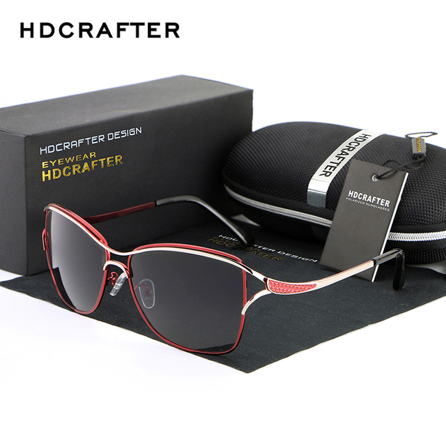 2017 HDCRAFTER Cat Eye Women Sunglasses Brand Designer Metal Frame Polarized Fashion glasses women's gafas de sol Good Quality