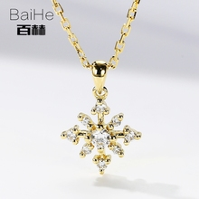 BAIHE Solid 14K Yellow Gold 0.10ct Certified H/SI Genuine Natural Diamonds Engagement Women Trendy Fine Jewelry gift Necklaces