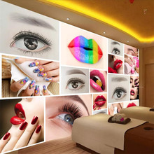 beibehang Custom wallpaper 3d photo murals fashion beauty salons semi-permanent brow eye lip nail tooling background wall paper(China)