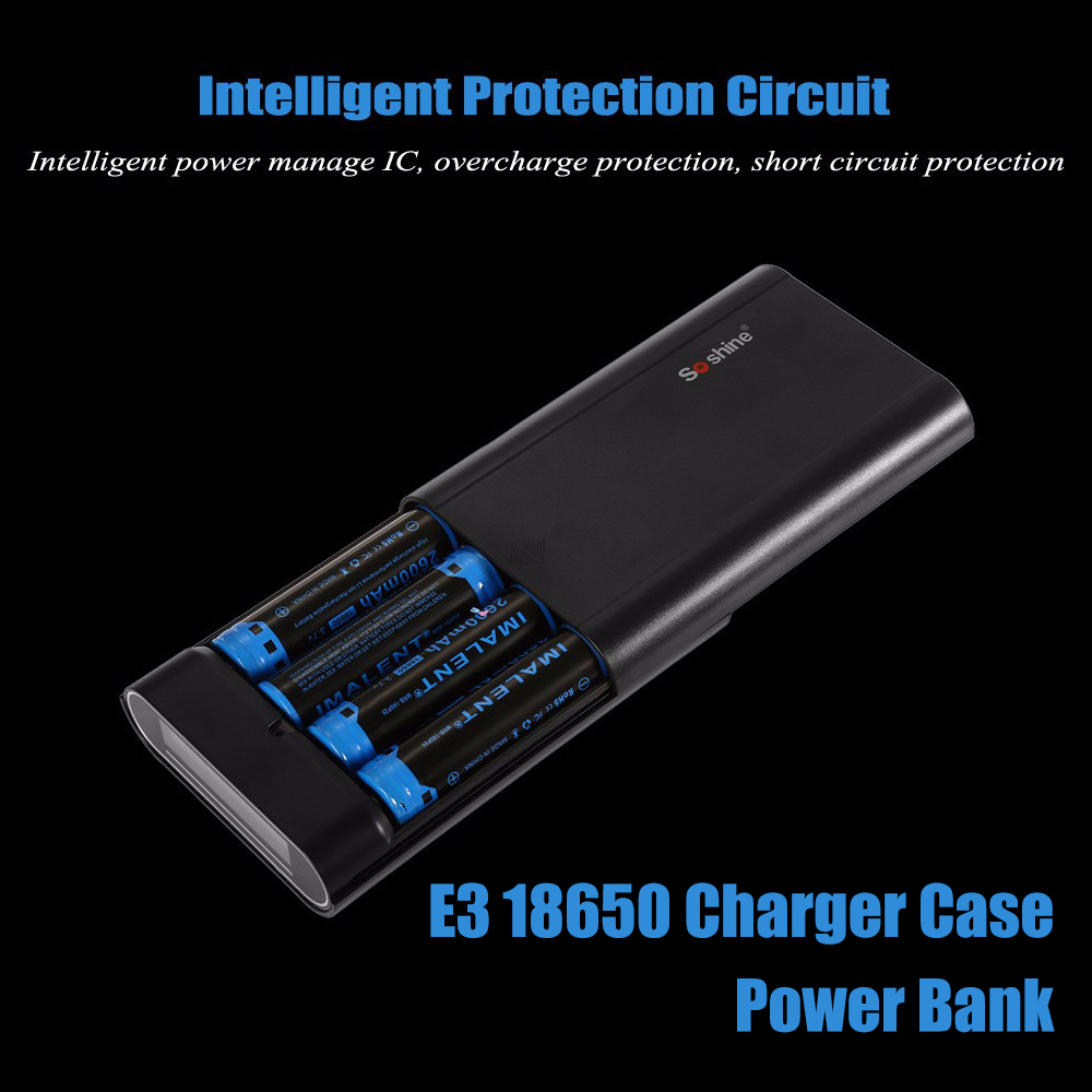 Original Soshine E3 18650 Li-ion USB Battery Charger Box 4 Slot Smart Battery Charger Cell Phone Power Bank Free Shipping