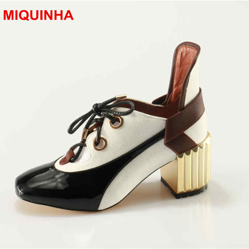 MIQUINHA Fashion Hot Brand Women Pumps Lace Up High Heel Shoes Mixed Color High Top Women