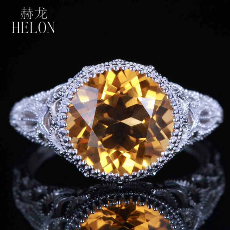 HELON Classical simple Vintage Art Deco 925 sterling silver 100% Genuine Citrine ring Engagement Wedding lady party jewelry Ring серьги art silver art silver ar004dwzmh30
