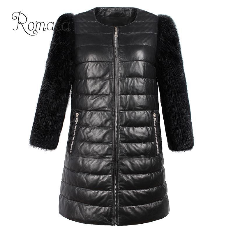 Romacci Frauen Faux Pelz Pu Lange Mantel Jacke 3/4 Sleeve Zip Front Side Taschen Plus Größe Mantel Casual Unten Jacke Mantel Outwear Haus & Garten