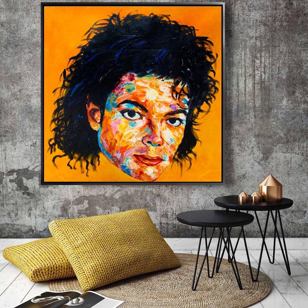 Современная Художественная палитра нож живопись супер рок звезда Майкл Джексон текстура маслом на холсте для украшения дома стены