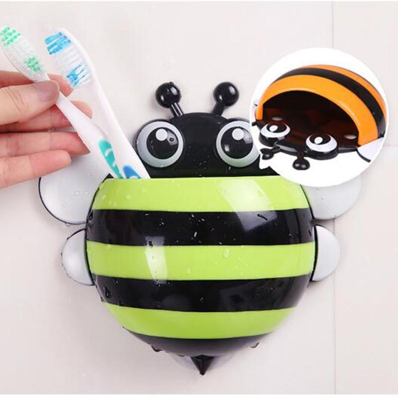 Ladybug Toothbrush Holder Cute Bee Snails Wall Mounted Tooth Brush Holder Suction Cup Toothbrush Storage Rack Bathroom Set