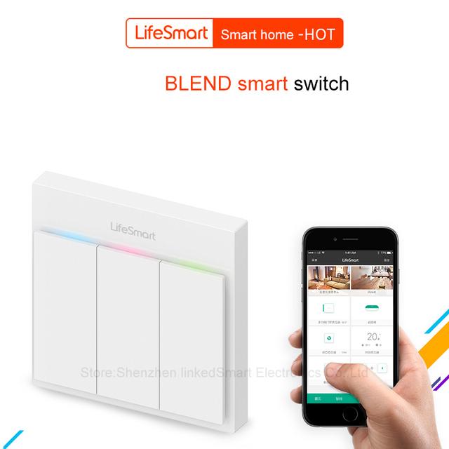 Reino unido tipo lifesmart mezcla streamer smart switch aplicación de teléfono celular Control remoto 16 millones de Color RF433 AC220V Domótica IOS Android
