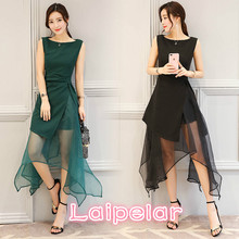 2018 Summer New European Root Yarn Dress Womens Fashion Irregular Black Green Party Tulle Princess Laipelar