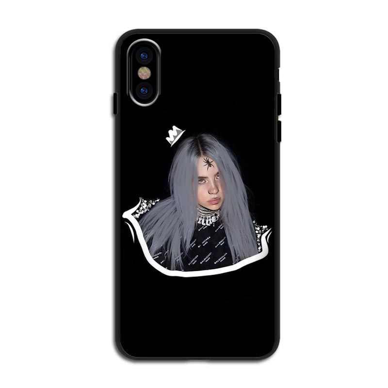 Billie eilish arc-en-ciel blohsh Yeux Océans silicone souple TPU noir coques de téléphone Pour iPhone 11 Pro Max 5S 7 8Plus XS XR XS MAX