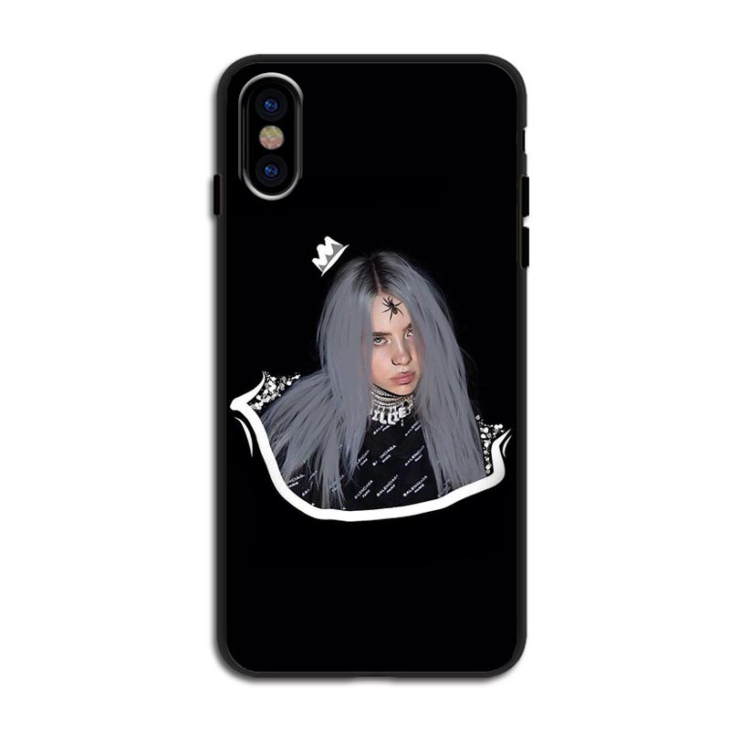 Billie eilish rainbow blohsh Ocean Eyes soft silicone black TPU Phone Cases Cover For iPhone 11 Pro Max 5S 7 8Plus XS XR XS MAX in Half wrapped Cases from Cellphones Telecommunications