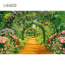 Laeacco Natural Backdrops Green Grass Spring Blossom Flower Arch Door Vine Passage Photography Background Photocall Photo Studio